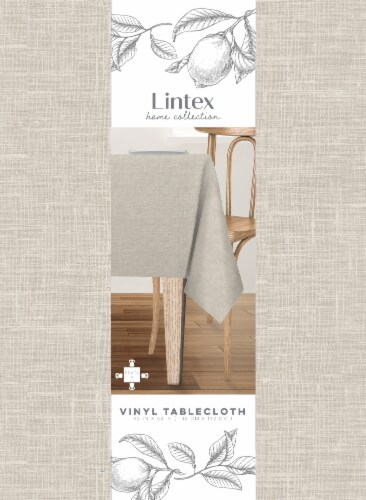 Lintex Maison Round Vinyl Tablecloth - Tan Perspective: front