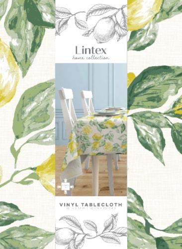 Lintex Lemons Round Vinyl Tablecloth Perspective: front
