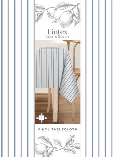 Lintex French Stripe Round Vinyl Tablecloth Perspective: front