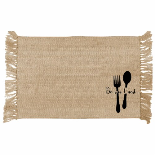 Lintex Be Our Guest Placemat - Black/Tan Perspective: front