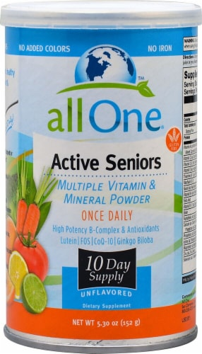 All One Nutritech  Active Seniors Multiple Vitamin and Mineral Powder   Unflavored Perspective: front