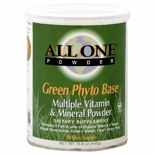 All One Green Phyto Base Multiple Vitamin & Mineral Powder Perspective: front