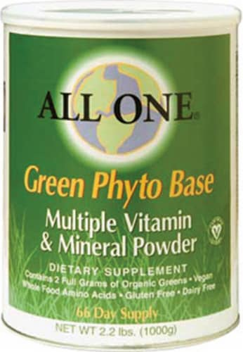 All One Nutritech  Green Phyto Base Multiple Vitamin and Mineral Powder Perspective: front