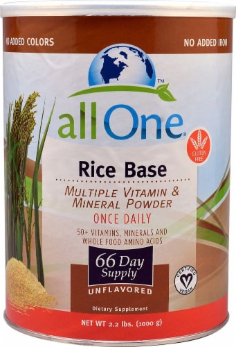 All One Nutritech Rice Base Multiple Vitamin and Mineral Powder Perspective: front