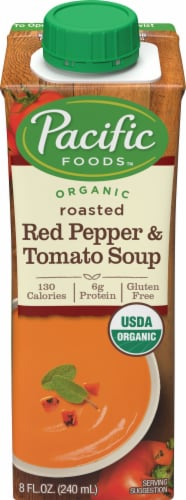 Pacific Foods Organic Roasted Red Pepper and Tomato Soup Perspective: front
