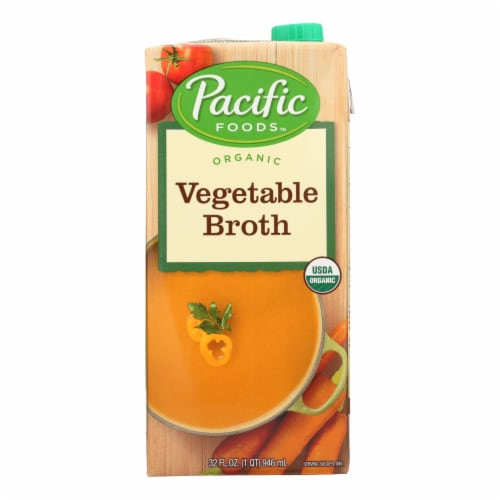 Pacific Natural Foods Vegetable Broth - Organic - Case of 12 - 32 Fl oz. Perspective: front