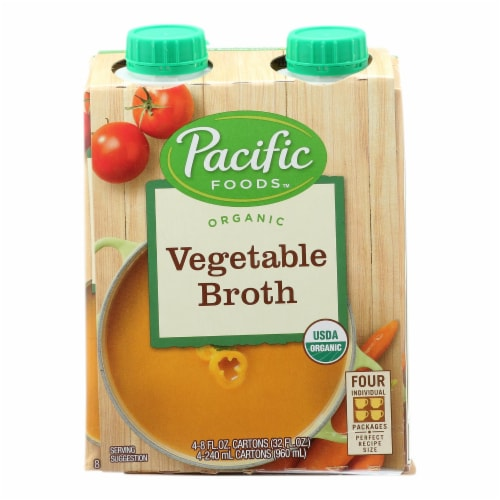 Pacific Natural Foods Vegetable Broth - Organic - Case of 6 - 8 Fl oz. Perspective: front