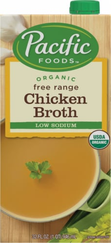 Pacific Foods Organic Free Range Low Sodium Chicken Broth Perspective: front