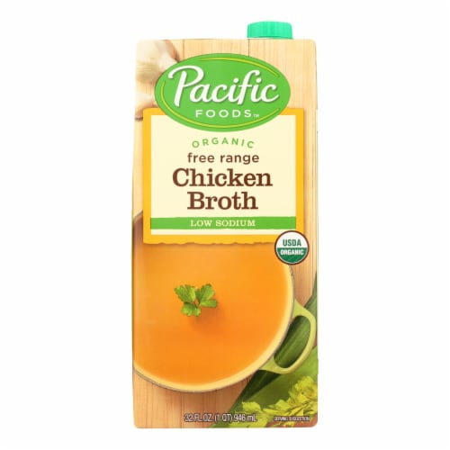 Pacific Natural Foods Organic Low Sodium Broth - Chicken - 32 fl oz Perspective: front