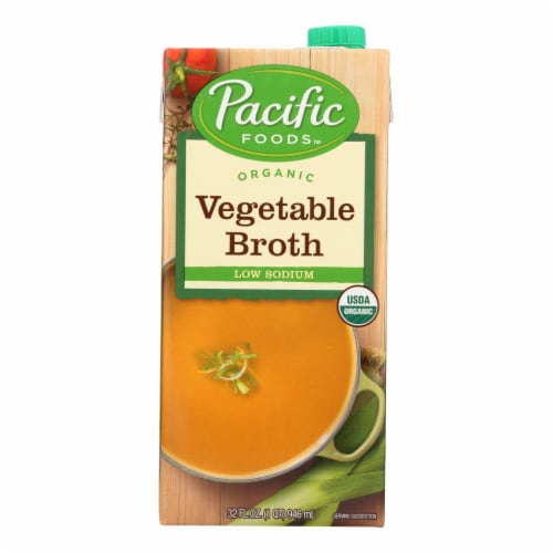 Pacific Natural Foods Vegetable Broth - Low Sodium - Case of 12 - 32 Fl oz. Perspective: front