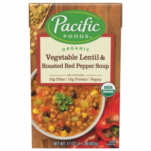 Pacific Vegetable Lentil & Roasted Red Pepper Soup Perspective: front
