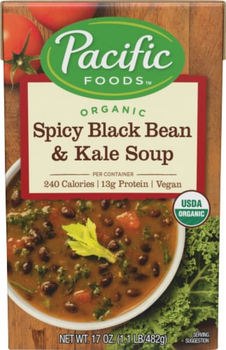 Pacific Organic Spicy Black Bean & Kale Soup Perspective: front
