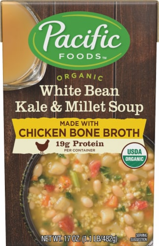 Pacific Organic White Bean Kale And Millet Soup with Chicken Bone Broth Perspective: front