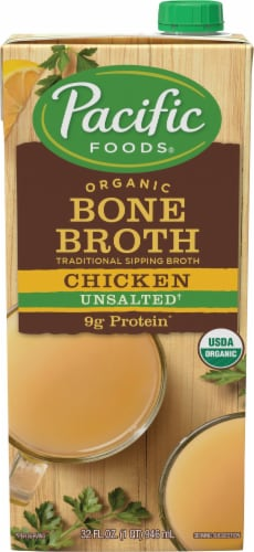 Pacific Organic Unsalted Chicken Bone Broth Perspective: front