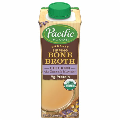 Pacific Foods Organic Bone Broth Chicken with Chamomile & Lavender Perspective: front