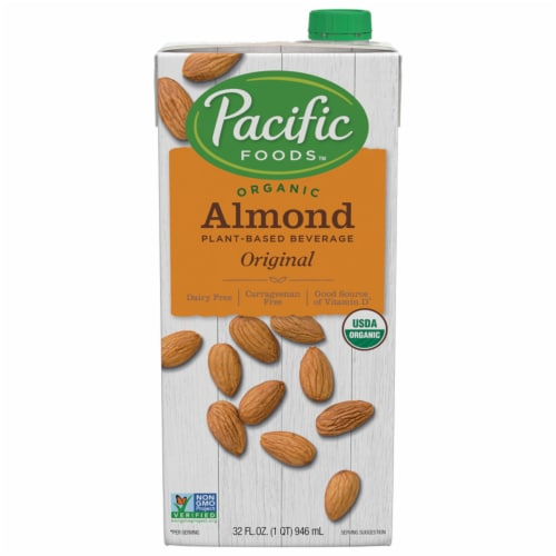Pacific Foods Organic Almond Plant-Based Beverage Perspective: front