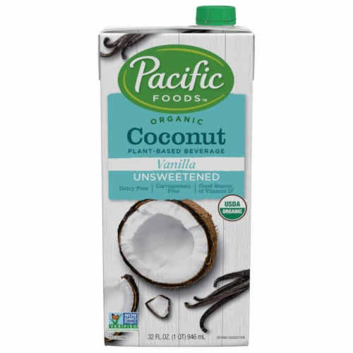 Pacific Foods Organic Coconut Unsweetened Vanilla Plant-Based Beverage Perspective: front