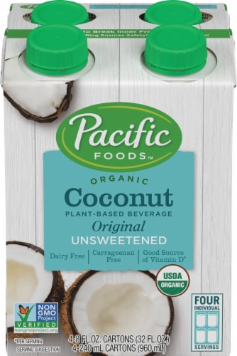 Pacific Foods Organic Unsweetened Coconut Beverage Perspective: front