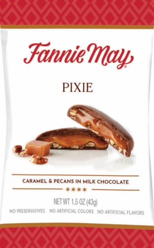 Fannie May Pixie Milk Chocolate Pecan Caramel Candy Perspective: front