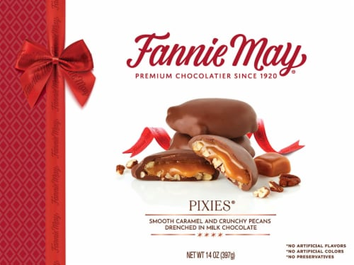 Fannie May Milk Chocolate Pixies Boxed Chocolate Perspective: front
