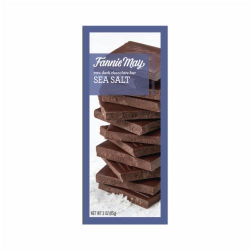 Fannie May Sea Salt 70% Dark Chocolate Bar Perspective: front