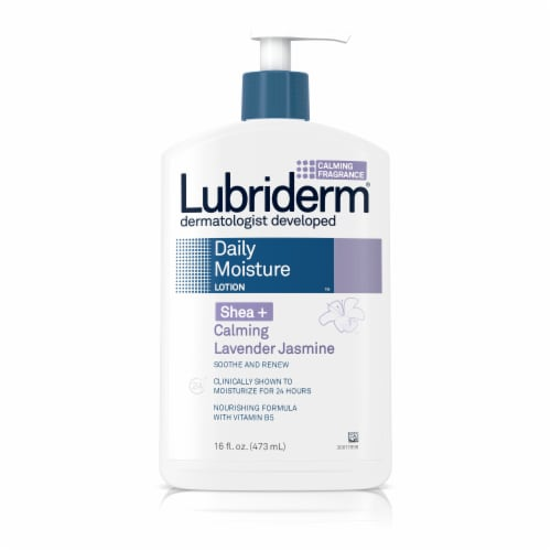 Lubriderm Shea+ Calming Lavender Jasmine Daily Moisture Lotion Perspective: front