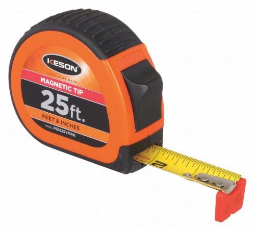 Keson 25 ft. Steel SAE Magnetic Tip Tape Measure, Black/Chrome/Orange PG1825VMAG Perspective: front