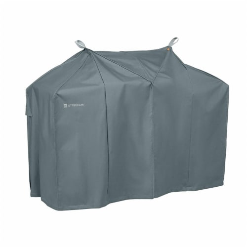 Classic Accessories 56-293-031001-EC Easy Fold BBQ Grill Cover, Monument Grey - Medium Perspective: front