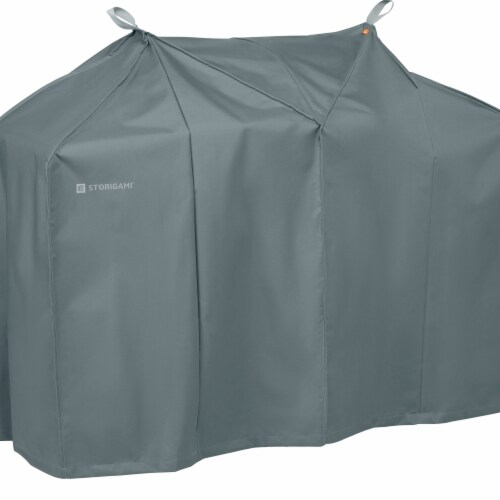 Classic Accessories 56-295-051001-EC Easy Fold BBQ Grill Cover, Monument Grey - Extra Large Perspective: front