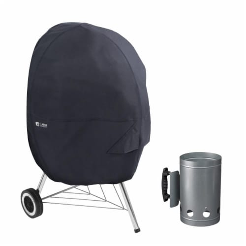 Classic Accessories 55-315-CHIMNY-EC Kettle Grill Cover with Charcoal Chimney, Black - Medium Perspective: front