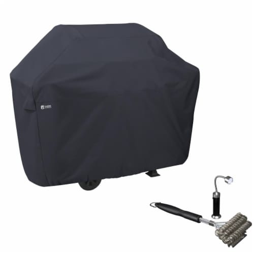 Classic Accessories BBQ Grill Cover with Coiled Grill Brush & Magnetic LED Light Perspective: front
