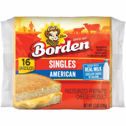 Borden American Singles Individually Wrapped Cheese Product Slices Perspective: front