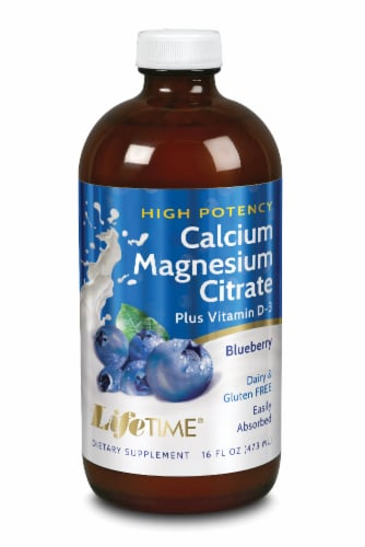 Lifetime Blueberry Calcium Magnesium Citrate Dietary Supplement Perspective: front
