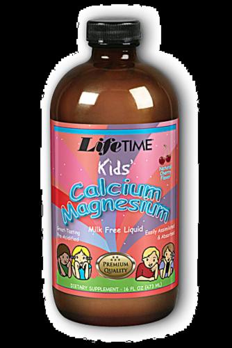 Lifetime Kids' Calcium Magnesium Natural Cherry Flavor Milk Free Liquid Perspective: front
