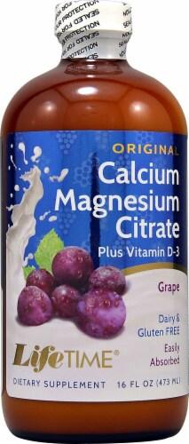 Lifetime Grape Calcium Magnesium Citrate plus Vitamin D-3 Liquid Supplement Perspective: front