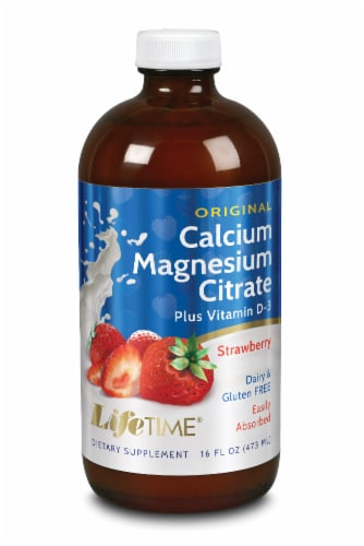 Lifetime Strawberry Calcium Magnesium Citrate Dietary Supplement Perspective: front