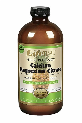 Lifetime Piña Coloda Calcium Magnesium Citrate plus Vitamin D-3 Liquid Supplement Perspective: front