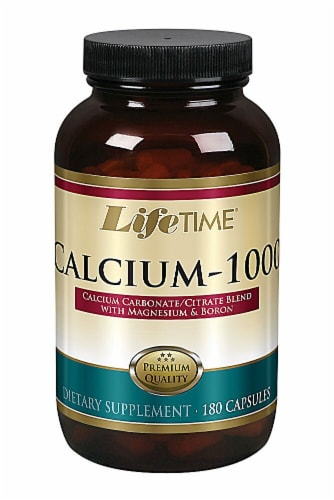 Lifetime Calcium-1000 Capsules with Magnesium and Boron Perspective: front