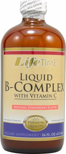 Lifetime Natural Strawberry B-Complex with Vitamin C Liquid Supplement Perspective: front