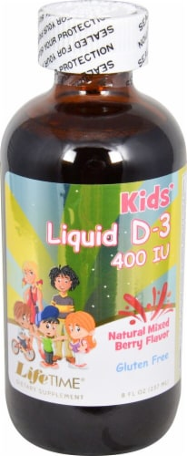 Lifetime Kids' Natural Mixed Berry Vitamin D-3 Liquid Supplement 400 IU Perspective: front