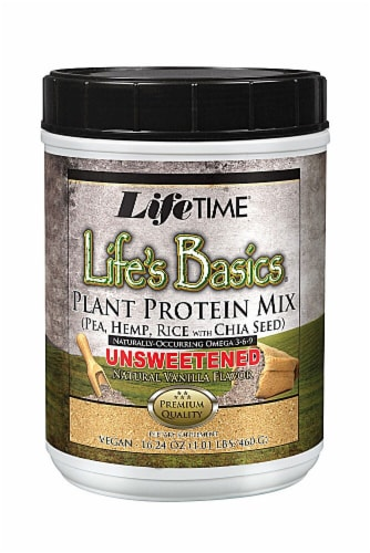 Lifetime's Life Basics Unsweetened Plant Protein Mix Perspective: front