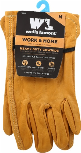 Wells Lamont Work & Home Heavy Duty Cowhide Gloves Perspective: front