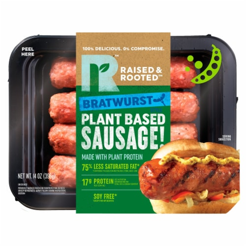 Raised & Rooted™ Bratwurst Style Plant Based Sausage Perspective: front