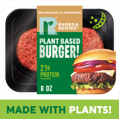 Raised & Rooted™ Plant Based Burger! Meat Alternative Perspective: front