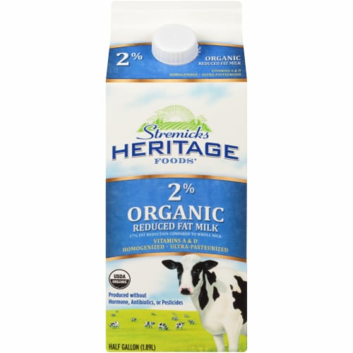Stremicks Heritage Foods 2% Organic Reduced Fat Milk Perspective: front
