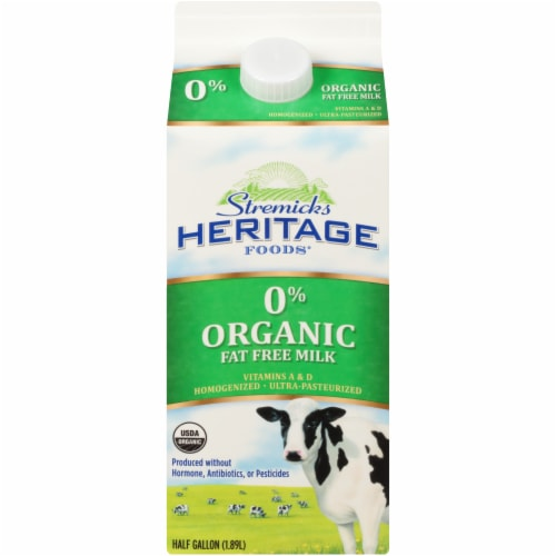 Stremicks Heritage Foods Organic 0% Fat Free Milk Perspective: front