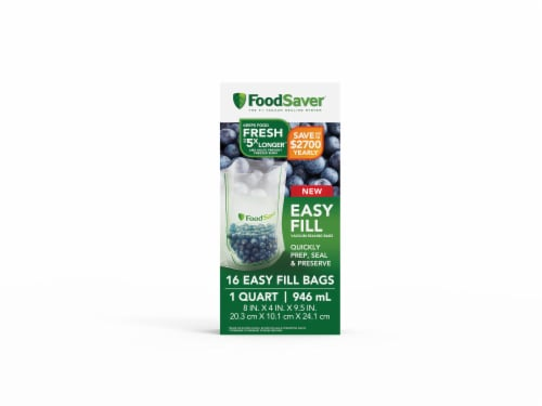 FoodSaver® Quart Easy Fill Bags - Clear Perspective: front