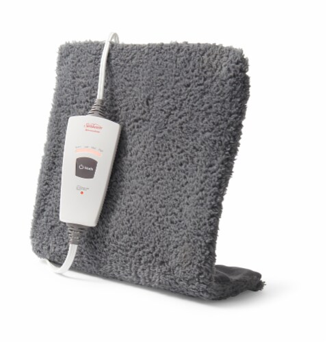 Sunbeam XpressHeat Gray Soft Cover Heating Pad Perspective: front