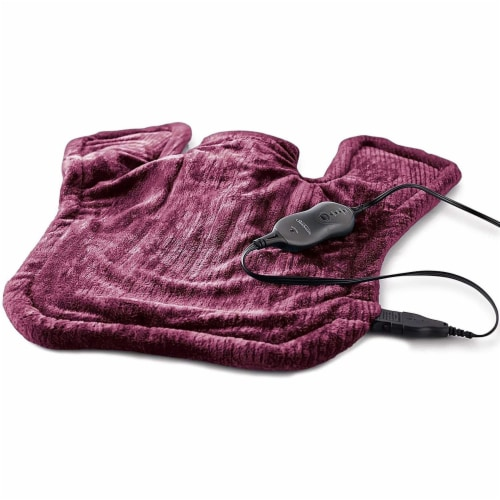 Sunbeam Renue XL 4 Setting Heating Pad for Neck & Shoulder Pain Relief, Burgundy Perspective: front