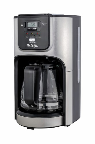 Mr. Coffee® 12 Cup Programmable Coffeemaker - Black/Stainless Steel Perspective: front